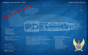 Airship Daedalus Gondola Blueprint & Spec-Sheet Poster